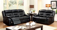 LOVE SEAT W/ 2 RECLINER CM6320-LV SHELDON COLLECTIONEnjoy the comfort and modern style of this sofa, love seat, and chair, all with built-in recliners. Expertly upholstered in bonded leatherette with decorative stitching details.• Contemporary Style • Recliners • Plush Seats