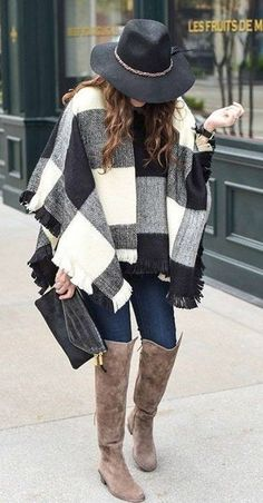 #winter #outfits /  Black Hat // Checked Cape // Navy Skinny Jeans // Black Leather Clutch // Brown Boots