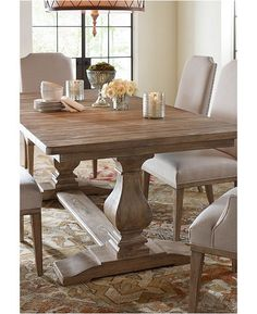 Rachael Ray Home Sunbleached Trestle Dining Table - Monteverdi Farmhouse Dining Room Table, Dinning Room Tables, Trestle Dining Tables, Dining Table Design, Extendable Dining Table, Dining Room Furniture, Kitchen Dining, Pier 1 Dining Table, Rustic Dining Room Sets