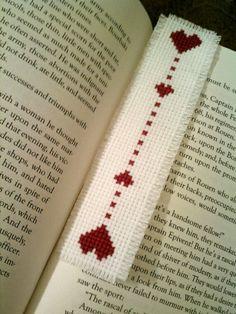 heart cross stitch bookmark