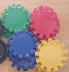 Plates cut up to look like gears - VBS decoration