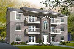Narrow lot Front to Back BiLevel Duplex Plan 2012655 by EDesigns