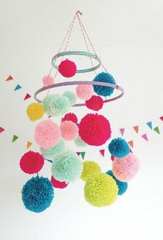 Do you like the pom poms craft project? The pom poms are a fairly simple and interesting craft project that can happily illuminate any space in your house. Kids can also participate in the pom poms craft project to create a colorful space. Diy For Kids, Crafts For Kids, Pom Pom Mobile, Craft Projects, Projects To Try, Craft Ideas, Diy Ideas, Party Ideas, Diy And Crafts