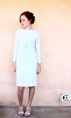 50s dress xs / 1950s baby blue cocktail dress / by aLaPlageVintage, $30.00