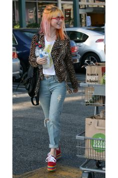 9 Celebrity Takes on the Classic Moto Jacket featuring Hayley Williams