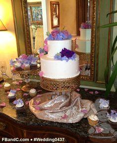 "Design W 0437 | 10""+6"" Cake w/ Cupcakes & Fresh Flowers | Custom Quote"