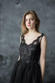 Pizzo nero vestito da sera vestito da promenade tulle breve Abiti Per Il  Party Del Ballo 29712f8e8df