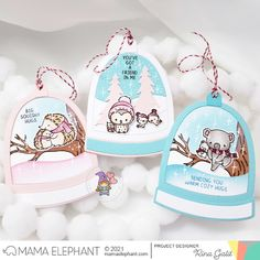 INTRODUCING: Stay Warm & Arch Snow Globe - Mama Elephant Stay Warm, Warm And Cozy, Mama Elephant, Elephant Design, Snow Globes, Hug, Christmas Crafts, Projects, Winter Cards