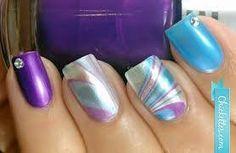 Purple water marble nail art