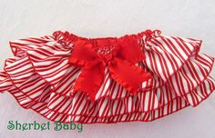 Candy Stripe Christmas Sassy Pants Ruffle Diaper by SherbetBaby, $32.00