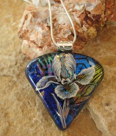 Dichroic Fused Glass Pendant Fused Glass Flower by GlassCat, $28.00
