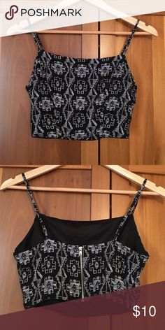 Black and white patterned crop top Black spaghetti strap crop top with white pattern and zipper up back from Bebe. 2B by Bebe Tops Crop Tops