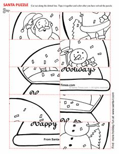 Santa Puzzle Cut Out Activity Christmas Decorations For Kids, Christmas Activities For Kids, Craft Activities For Kids, Christmas Colors, Kids Christmas, Christmas Games, Christmas Worksheets, Christmas Printables, Christmas Wonderland