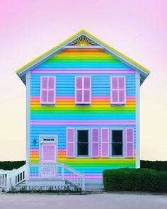 New York Artist Covers Pictures In Rainbows Because Everything Is Better With Lots Of Color Taste The Rainbow, Over The Rainbow, Love Rainbow, Rainbow House, Colourful Buildings, Rainbow Aesthetic, Cover Pics, World Of Color, House Colors