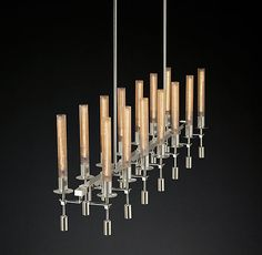 """Overall: 66""""W x 8""""D Minimum Height: 60"""" (excluding all extension rods) Maximum Height: 156"""" (including all extension rods) Canopy: 46"""" diam., ½""""H Rods: four 6"""", eight 12"""", four 18"""" Chandelier Body: 20½""""H Weight: 49 lbs. $2771"""