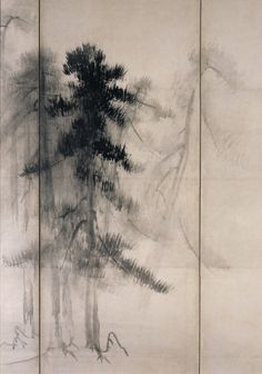 """Pine Trees"" in detail (pair of six-folded screens; ink on paper), by HASEGAWA Tohaku (1539~1610): National Treasure of Japan 長谷川等伯 松林図(国宝)"