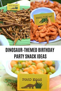 These snacks are perfect for your dinosaur-themed party! Super cute and easy to make. Kids love dinosaurs, so throw them a Dinosaur themed party and grab your free printables to make the design perfect, I promise they will be so thrilled! Birthday Party Snacks, Snacks Für Party, 4th Birthday Parties, Easy Kid Party Food, Birthday Ideas, Party Appetizers, Themed Parties, Party Party, Birthday Gifts