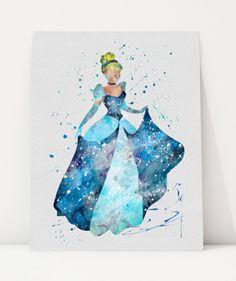 Cinderella Watercolor Illustration, Wall Art, Art Print, Disney Princess Inspired