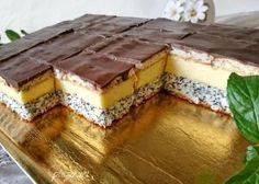 Prajitura Tosca (mac, cocos, crema de vanilie) Czech Desserts, Fancy Desserts, Sweet Desserts, Sweets Recipes, Baking Recipes, Cake Recipes, Homemade Sweets, Homemade Cakes, Sweet Cooking