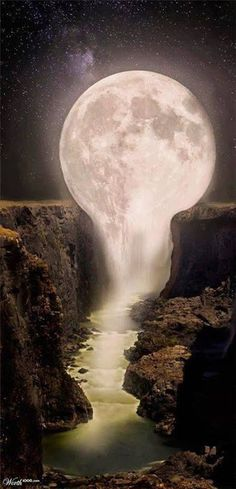 Moon over Waterfall - Gorgeous ! It looks like the moon is melting into the waterfalls. Pretty Pictures, Cool Photos, Amazing Photos, Funny Photos, Beautiful World, Beautiful Places, Beautiful Beautiful, Beautiful Scenery, Les Cascades