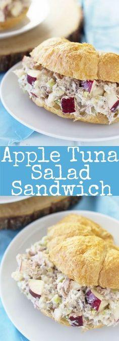Apfel-Thunfisch-Salat-Sandwiches sind ein schnelles und einfaches Mittagessen, d. Apple Tuna Salad Sandwiches are a quick and easy lunch that doesn't require cooking . - Sunday Dinners - de frutos do mar Tuna Sandwich Recipes, Tuna Fish Recipes, Apple Sandwich, Sandwiches For Lunch, Healthy Sandwiches, Tuna Salsa Recipe, Tuna Salad Recipe With Apples, Tuna Salad Sandwiches, Seafood