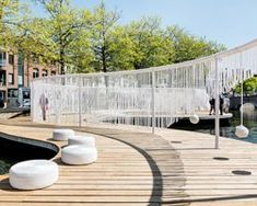 pavilion with playful swings and hammocks floats in a bruges canal by OBBA and dertien 12 Landscape Model, Landscape Plans, Urban Landscape, Landscape Design, Landscape Steps, Park Landscape, Landscaping Las Vegas, Landscaping Work, Landscape Arquitecture