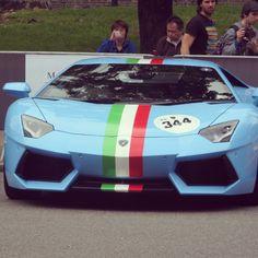 Italian Stallion!! Baby Blue Aventador with Patriotic Stripes 'Ital