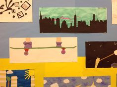 Matisse Paper Cut-Outs inspired Narrative Art by Eighth Grade Artists