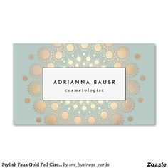 Stylish Faux Gold Foil Circle Motif Sage Blue Double-Sided Standard Business Cards.  Artwork designed by Maura Reed