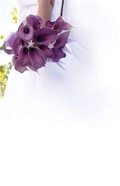 Bride and Purple Lilies Bouquet, Bridesmaids Luncheon Invitation