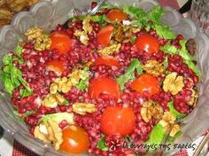 Great recipe for Arugula salad with pomegranate and spinach. A very refreshing salad that everyone will just love! Recipe by kyriaki Arugula Salad, Cobb Salad, Greek Cooking, Pomegranate Seeds, Spinach Recipes, Balsamic Vinegar, Greek Recipes, Cherry Tomatoes, Salads
