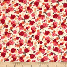 Blissful Moments Mini Floral Red from @fabricdotcom  Designed by Daria Jabenko for P&B Textiles, this cotton print fabric is perfect for quilting, apparel and home decor accents. Colors include crimson red, cream, orange, pink and brown.
