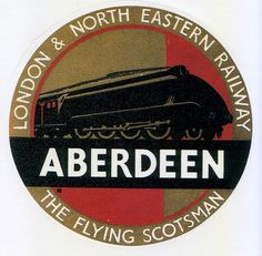 SCOTLAND - Aberdeen - Luggage label from the glory days of travel.