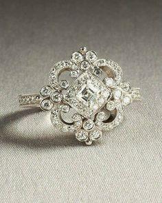 Beautiful diamond ring vintage look Jewelry Box, Vintage Jewelry, Jewelry Accessories, Jewellery, Vintage Clothing, Jewelry 2014, Boho Jewelry, Wedding Jewelry, Antique Jewelry
