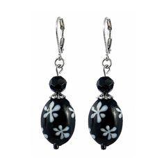Black and White Daisy Earrings (E180)