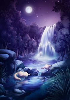 The Moon Pool []by Gloria Kang, Singapore Fantasy Art Landscapes, Fantasy Landscape, Fantasy Artwork, Beautiful Landscapes, Christmas Background, Christmas Wallpaper, Scenery Wallpaper, Wallpaper Backgrounds, Backgrounds Free