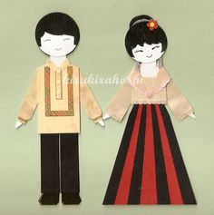 FILIPINO BOY and GIRL Couple in Barong Tagalog and Maria Clara Paper Doll Card Topper (Set of 2) $11.20 on etsy.com
