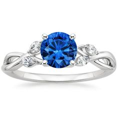 18K White Gold Sapphire Willow Diamond Ring from Brilliant Earth