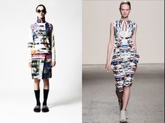 """Last year's glitch : prints from James Long (l) and Zero & Maria Cornejo (r) SS14 collections - read about it in our article """"Season Of The Glitch"""""""