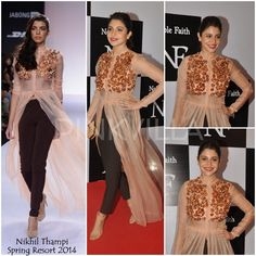 Anushka Sharma looked lovely in a Nikhil Thampi ensemble from his Spring Resort 2014 collection at a fashion label launch. Her look included a floor . Simple Kurti Designs, Blouse Designs, Indian Designer Outfits, Indian Outfits, Indian Dresses, Bollywood Celebrities, Bollywood Fashion, Stylish Dresses, Fashion Dresses