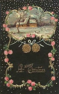 A merry Christmas wish - love the black and pink palette. #vintage #Christmas #cards