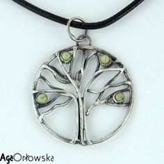 silver jeweler - tree pendant with chita cabochones