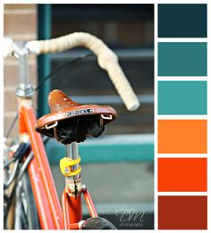 Bicycle Blues {orange & blue color palette} I love these colours! Blue Colour Palette, Colour Schemes, Color Combos, Color Palettes, Orange And Turquoise, Orange Color, Blue Orange, Color Blue, Room Colors