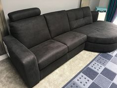 Stylish sofa with curved chaise lounge. Sofa in microfibre material. Delivered to our client in Hertfordshire. Leather Bed, Lounge Sofa, Clean Design, Sofa Design, Modern Bedroom, Contemporary Furniture, Sofas, Couch, Cabinet