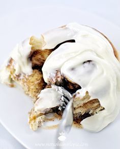 Gooey Butter Cake Cinnamon Rolls With Layered Whipped Cream Cheese Frosting !!  by Not So Humble Pie