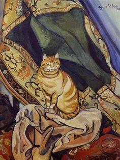 """Raminou assis sur une draperie / Raminou sentado sobre un paño / Raminou sitting on a cloth"", 1920  Suzanne Valadon"