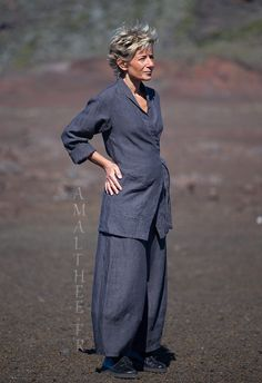 slate grey flax linen outfit for women