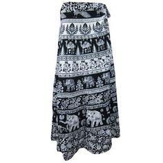 Mogulinterior Womens Wrap Skirt-Cotton Designer Long Hippy Animal Printed Wrap Around skirts