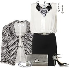 """Classy with Black, White and Metallic Contest"" by kginger on Polyvore"