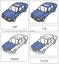 Car Nomenclature Cards: 20 parts of the car (nomenclature in red) in card format. Printable Montessori nomenclature cards and books for children by Montessori Print Shop. Cars Preschool, Preschool Lesson Plans, Preschool Letters, Preschool Themes, Transportation Activities, Car Activities, Toddler Activities, Montessori Practical Life, Montessori Preschool